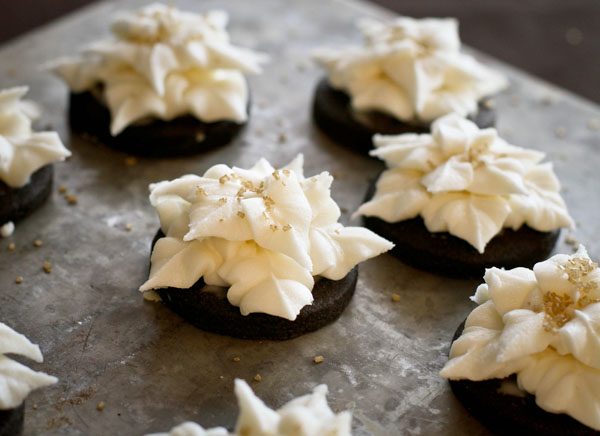 New Year's Dark Chocolate Cookies with Champagne Buttercream